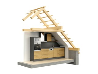 Stylized building with kitchen. 3D model