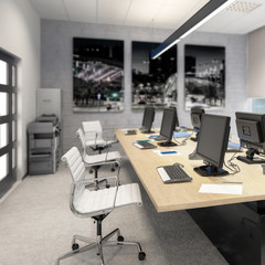 Common Computer Workplace Design (focus) - 3d visualization