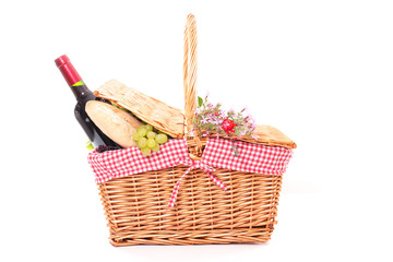 Poster Picnic picnic basket with bread, grapes and wine