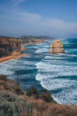 View on the opposite site of the 12 apostles at the Great Ocean Road in Australia