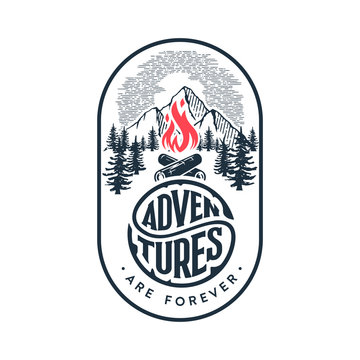 Adventures are forever oval white Vector illustration