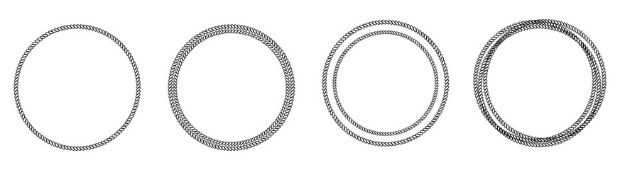 Round abstract chain frame icon set line. Outline effect. White background. Isolated. Flat design
