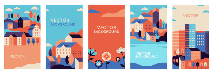 Vector set of social media stories design templates, backgrounds with copy space for text - urban landscapes with buildings  Fototapete