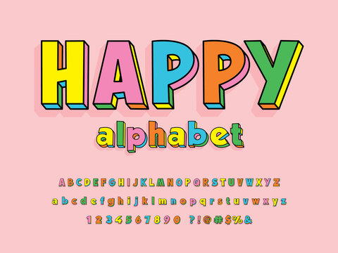 Vector of stylized colorful alphabet design