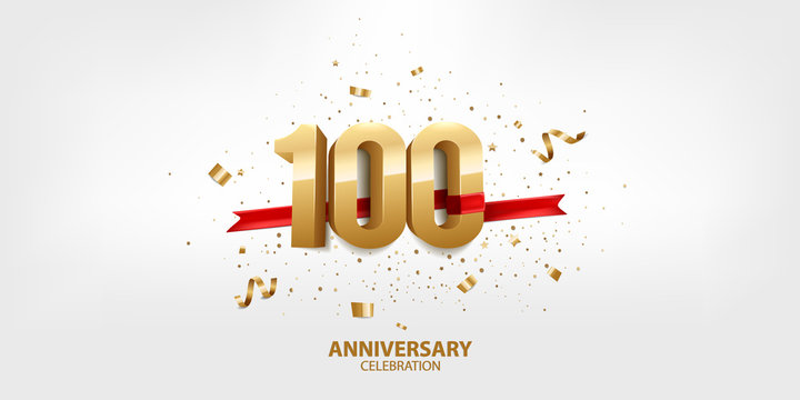 100th Anniversary celebration. 3D Golden numbers with confetti and ribbon.