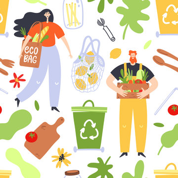 Zero waste lifestyle concept. Seamless pattern with people and zero waste elements. Vector illustration.