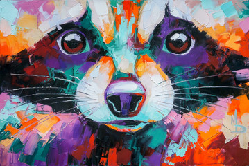 Oil raccoon portrait painting in multicolored tones. Conceptual abstract painting of a raccoon...