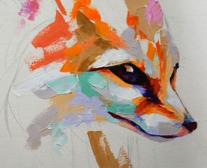Oil fox portrait painting in multicolored tones. Conceptual abstract painting of a fennec muzzle....