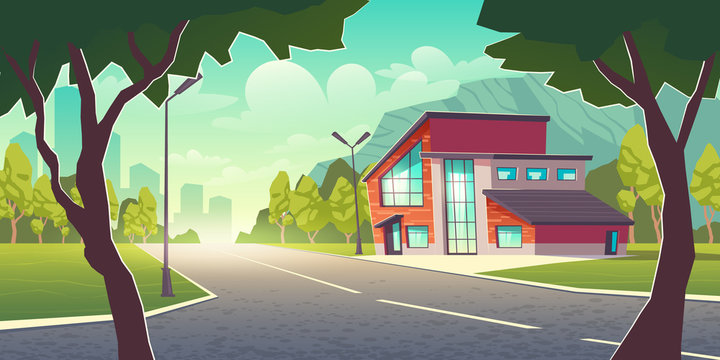 Comfortable dwelling in clean place outside the town cartoon vector concept. Modern cottage house building with flat and sloping roof, glass facade and garage in suburb near metropolis illustration