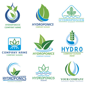 Set vector images for logo hidroponic companys and farms