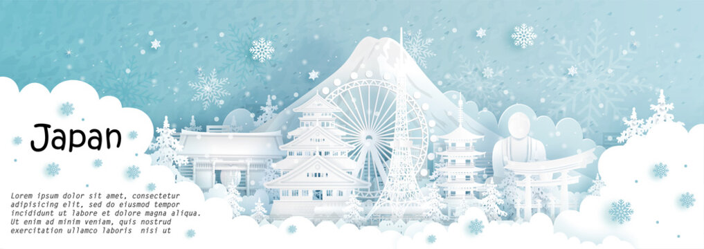 Panorama postcard and travel poster of world famous landmarks of Japan in winter season with falling snow in paper cut style vector illustration