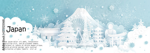 Fototapete Panorama postcard and travel poster of world famous landmarks of Japan in winter season with falling snow in paper cut style vector illustration