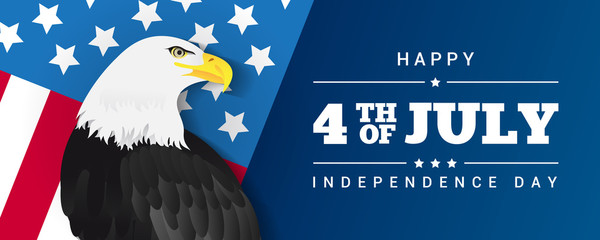 Happy 4th of July Banner Vector illustration.  Bald eagle with Flag of the United States.