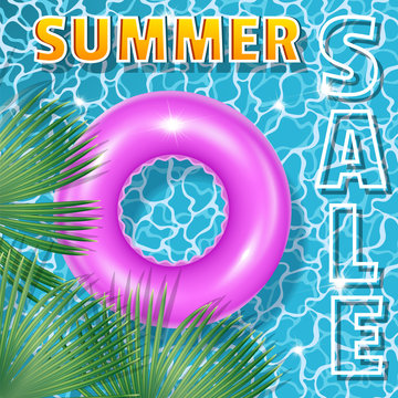 Summer sale square banner with palm tree leaves and crimson rubber ring. Poster - advertising for stores and businesses. Realistic 3D style. Vectonic illustration