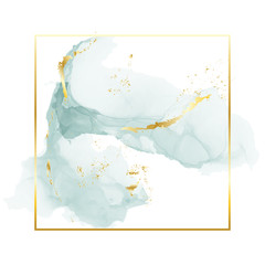 Brush grey blue strokes in gentle tones and gold foil rectangle frame on a white background. Vector watercolor art