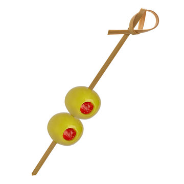 Green pitted olives on a bamboo cocktail stick isolated on white background with clipping path