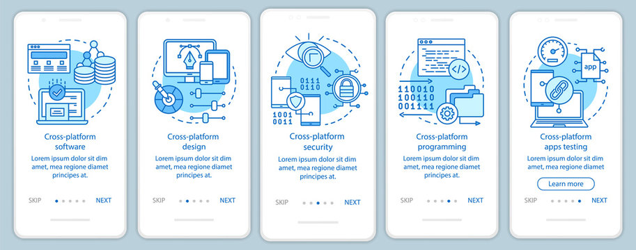 Cross platform application onboarding mobile app page screen vector template