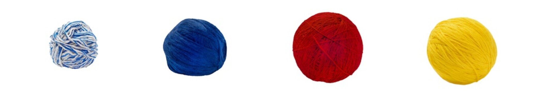 Yarn Balls Set. Isolated on White Background.