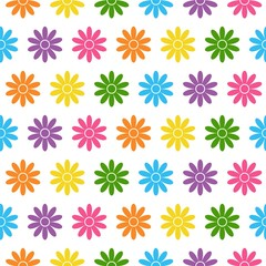 Seamless floral pattern. Abstract floral background. Bright flowers on a white background.