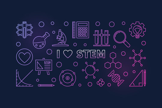 I Love STEM concept colored outline horizontal banner. Vector illustration in thin line style on dark backgroun