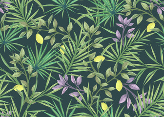 seamless pattern with palm leaves and lemons Wall mural