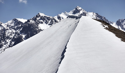Landscape of snowy mountains