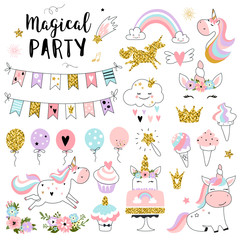 Estores personalizados infantiles con tu foto Unicorn magic party elements for greeting, birthday, invitation, baby shower card. Set of rainbow, sweets, crown, balloons, flags, cupcakes and other. Vector illustration.
