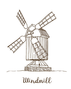 Windmill vector drawing, hand drawn sketch of mill isolated on white background