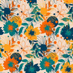 Seamless pattern with floral ornament for fabric, wallpaper, cover and more