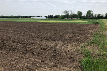An empty field at a Kansas State University research station site where horiculturalist Jason Griffin plans to plant industrial hemp in Haysville, Kansas