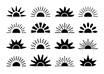 Sunrise & sunset symbol collection. Horizon flat vector icons. Morning sunlight signs. Isolated object Fototapete