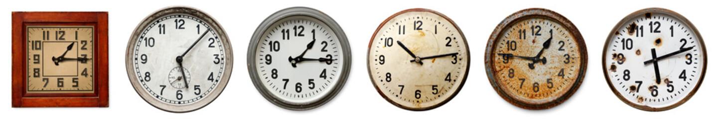Set of old wall clocks
