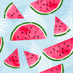 Seamless pattern with watermelon slices and palm tropical leaves