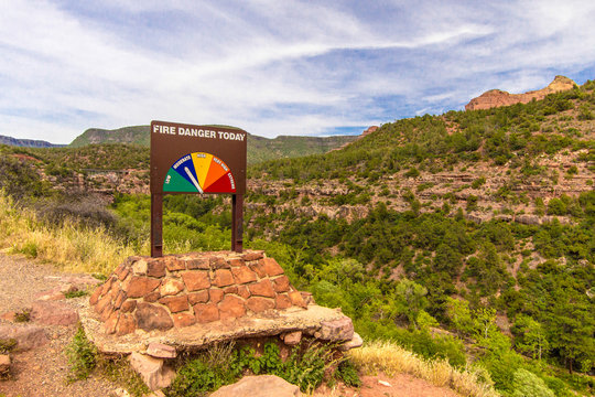 Fire Danger Sign In Coconino National Forest In Arizona
