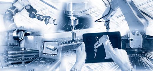 Moderne Produktion mit Industrierobotern