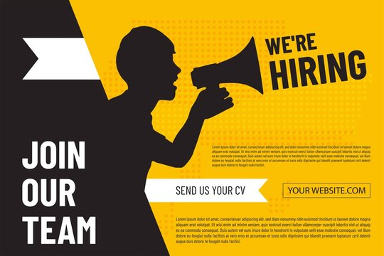 We are hiring design poster with man and  megaphone.Open vacancy design template. Join our team