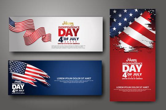 Set banner design template. Fourth of July Independence Day, Vector illustration