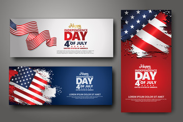 Set banner design template. Fourth of July Independence Day, Vector illustration