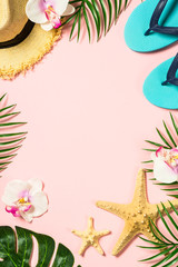 Summer flat lay background. on pink