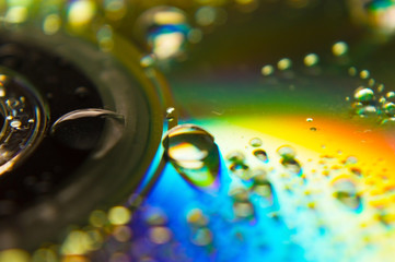 Water drops on a CD made by macro photography
