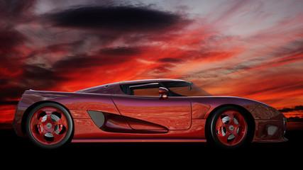 Roter Sportwagen vor einen tiefroten Sonnenuntergang