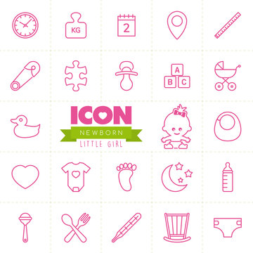 Newborn vector icon set. Little girl. Baby icon