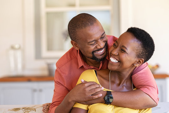 Mature black couple in love laughing