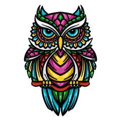 Canvas Prints Owls cartoon colorful owl zentangle art illustration - Vector
