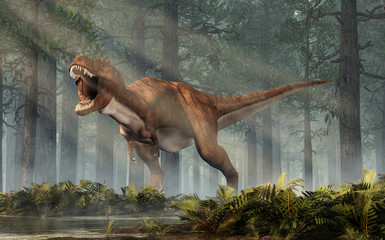 A brown and white tyrannosaurus rex roars at you. This dangerous carnivorous dinosaur of the Cretaceous period looks angry.  In a sunlit forest. 3D Rendering