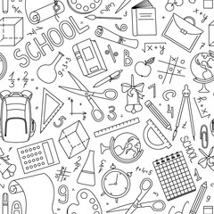 Back to school seamless pattern in doodle style. Hand drawn vector school supplies, stationery on white background.