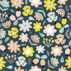 Fototapete - Cute background with abstract flowers