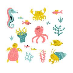 Cartoon sea animals collection