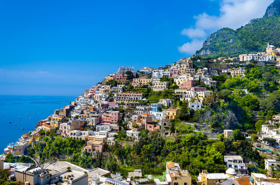Panoramic view  of Positano town  at  Amalfi Coast, Italy.