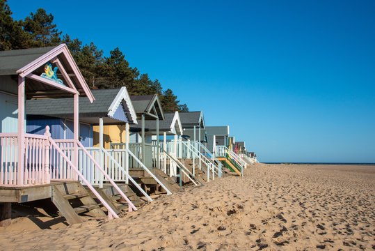 Side view of Beach Huts in Norfolk